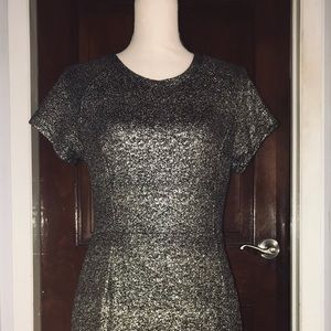 Sparkly black and gold Midi cocktail dress